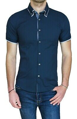 b4e346a14 CHEMISE HOMME DIAMOND Class Bleu Slim Fit Super- Moulant Neuf Casual ...