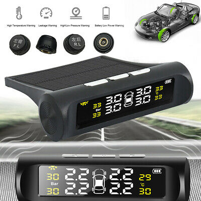 Wireless Solar TPMS Car Tire Tyre Pressure Monitoring Systems External 4 Sensors