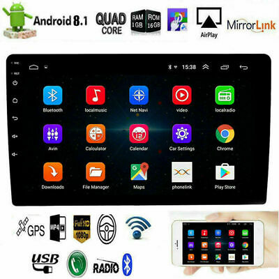 """10.1"""" Android 8.1 Quad Core 16GB 2Din Car Stereo Radio GPS WIFI Touch MP5 Player"""