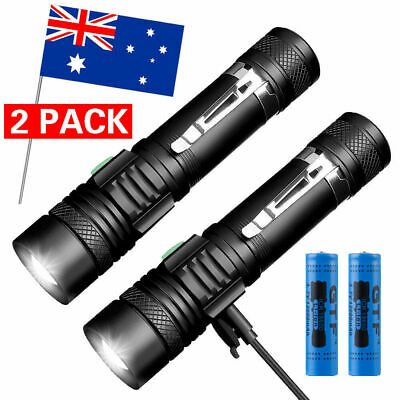 2pck 20000lm Shadowhawk CREE T6 LED Flashlight USB Rechargeable waterproof Torch