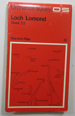 1965 old vintage OS Ordnance Survey seventh series one-inch Map 53 Loch Lomond