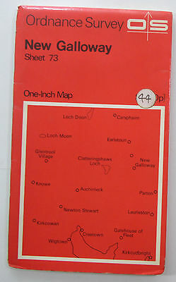 1965 old vintage OS Ordnance Survey seventh series one-inch Map 73 New Galloway