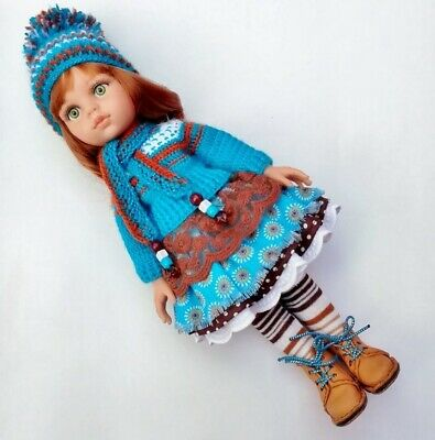 Clothes Set Doll Paola Reina Sweater Hat Scarf Skirt Pantyhose Boots Handmade