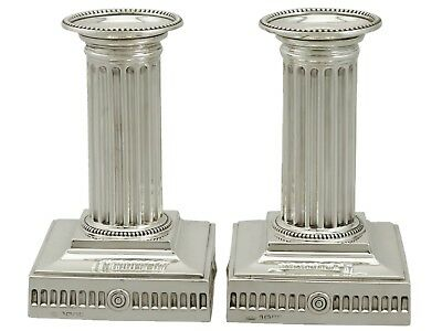 Victorian Sterling Silver Corinthian Column Piano Candlesticks Sheffield 1880s