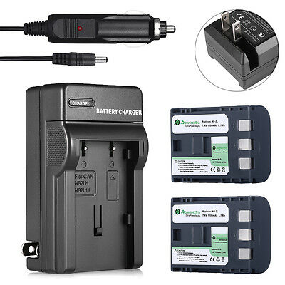 2 Pack NB-2LH NB-2L Battery + Charger for Canon Rebel XT XTi EOS 350D 400D G7 G9