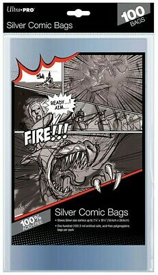 """1 Pack of 100 Ultra Pro 7 1/4"""" Silver Age Comic Book Storage Bags Sleeves New"""