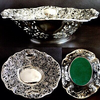 "Superb Quality Antique Ornate Heavy (310g) Silver Plated 8""/20cm Serving Bowl"