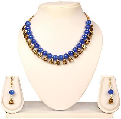 Beautiful Royal Blue Beads Antique Necklace Set_201881987