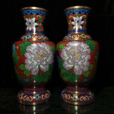 "10"" Chinese old antique Copper Cloisonne interlock branch flowers Vase A pair"