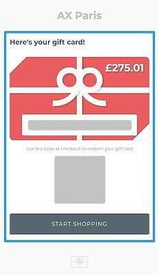 £275 AX Paris Gift Card/Voucher for Occasion Going Out Womens Clothing No Expiry