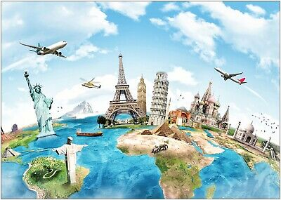 World Map Famous Monuments Landmarks Large Poster Art Print A0 A1 A2 A3 A4 Maxi