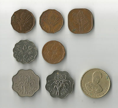 Swaziland 8 different coins : cents & lilangeni incl FAO types