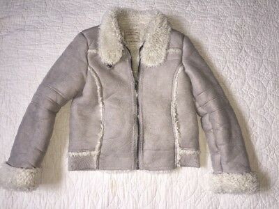 Girls Matalan Dove Grey Faux Shearling Borg Teddy Aviator Jacket Age 10-11y