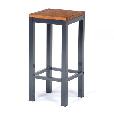 Luxury Metal and Hardwood Outdoor Garden Patio Bar Stool