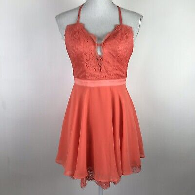 $98 Bebe Kaylee Skater Dress Women's Size 00 Pink Orange Coral Lace Open Back