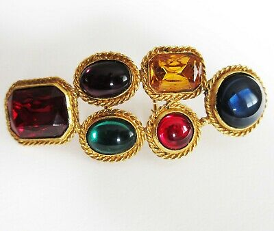 Vintage Accessocraft NYC Gold Tone Glass Cabochon Belt Buckle
