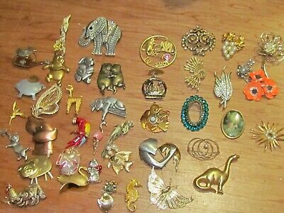 Vintage to Now Assorted Brooches Lot of 42 Animals Rhinestone Florals and More