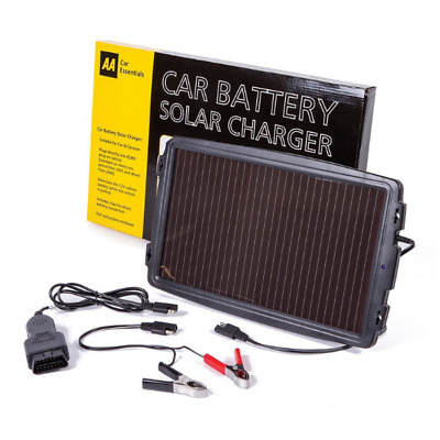 AA Essentials 12V Solar-Powered Car Battery Charger Solar Panel EOBD Version