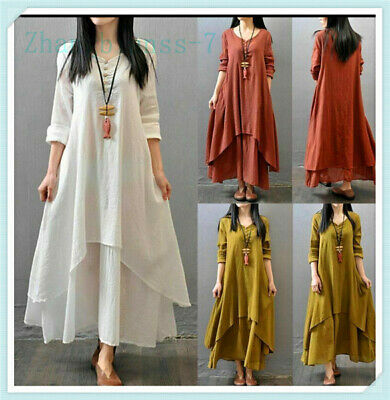 Sexy Women Ethnic Peasant Cotton Boho Linen Long Sleeve Maxi Dress Gypsy Dresses
