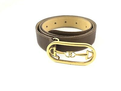 Gucci Belt Leather Brown Gg Used Good Condition Genuine Vintage!!