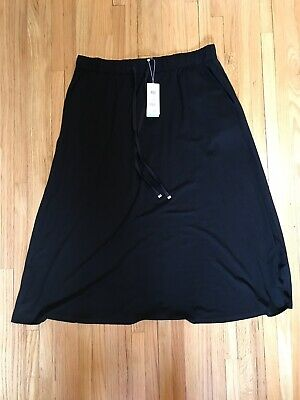 d9facebae Eileen Fisher SKIRT Sz L Large NEW NWT Flared Black Viscose Jersey $158