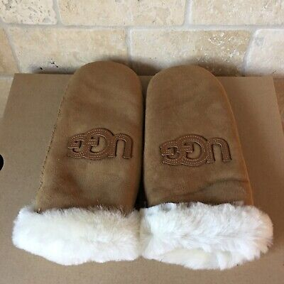 Ugg Heritage Logo Mitten Chestnut Suede Shearling Lined Winter Size L / Xl Women