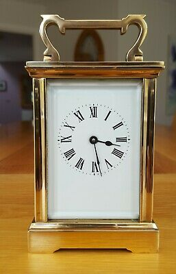 Antique Solid Brass Carriage Clock  -  8 Day Brass Movement With Key