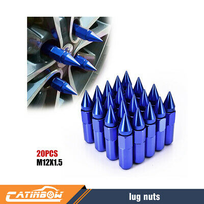 20PCS Blue M12X1.5 Cap Spiked Extended Tuner Aluminum Wheels Rims Lug Nuts 60mm