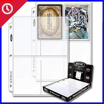 NEW Count 100 Pro 4-Pocket Photo Page.Sleeve Heavy-Duty Bcw New