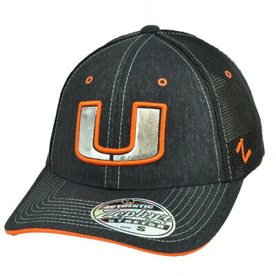pick up be5de c3f2b NCAA Zephyr Miami Hurricanes Canes Denim Look Black Mesh Hat Cap Flex Fit  Small