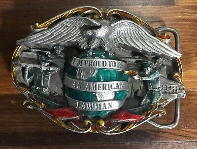 Vintage 1985 Bergamot Brass Works Belt Buckle I'm Proud To Be An American Lawman
