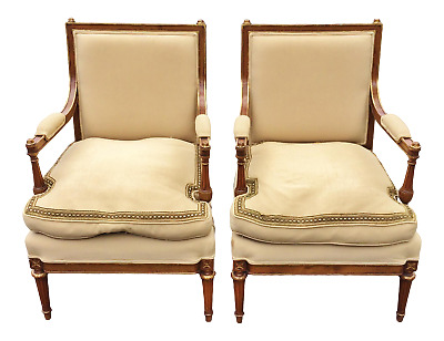Museum PAIR Antique 19th C FRENCH Bronze Mounted Carved Open ARMCHAIRS Arm Chair