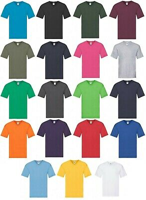 Men's Fruit of the Loom 100% Cotton V-Neck Original T-Shirt Plain Casual Tee New