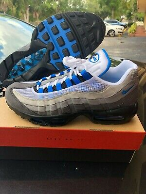 18519a41ac Men's Nike Air Max 95 AT8696 100 Black White Crystal Blue Size 8 8.5 9 9.5