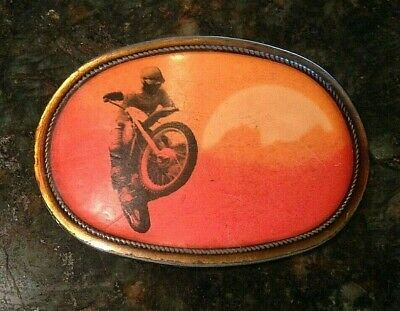 "SUPER RARE  Motocross Belt Buckle ""ON ANY SUNDAY""  Pacifica MFG Vintage 1976"