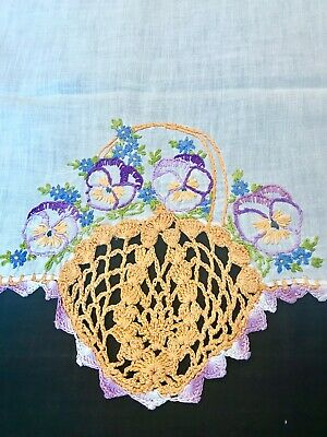 Vintage Hand Crochet & Embroidered Farmhouse, Cottage, Runner, Table Scarf SWEET