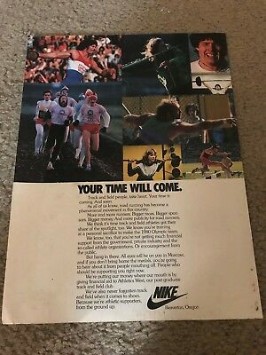 """Vintage 1979 NIKE """"YOUR TIME WILL COME"""" Poster Print Ad 1980 OLYMPICS SUPPORT"""
