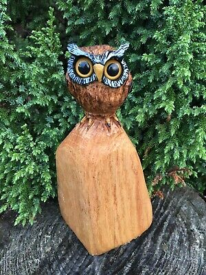 Chainsaw Carved Horned Owl OAK WOOD Bird Carvings Wildlife Folk Art Collectibles