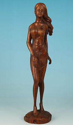Chinese Old Boxwood Handmade Carved Belle Figure Statue Art Home Decoration