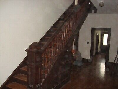 Antique staircase newel post balusters and railing House built in 1904