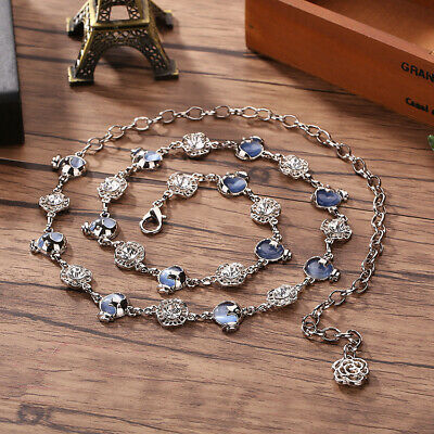 Rhinestone Waist Chain Metal Belt Crystal Charm Dress Waistband Women High Hip