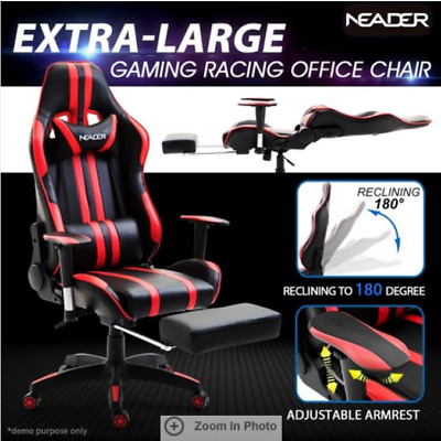 Racing Gaming Office Chair PU Leather Computer Seat with Retractable Footrest