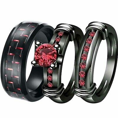 sz6-12 Couple Rings Mens Bands Titanium Steel Red CZ Women's Wedding Ring Sets
