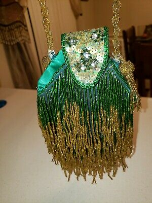 Vintage Beaded Flapper Bag Purse Green with gold color beads