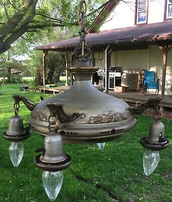 Antique Art Nouveau Ceiling Electric 5 Light Fixture Ornate Brass W/CAST ARMS