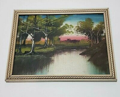 Vintage acrylic on board original wood framed landscape painting 1943 small 9x7