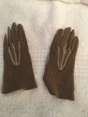 "Wonderful Antique Kid Leather Doll Gloves or Salesman's Sample  3 3/4""Long"