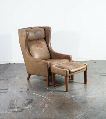 Mid Century Danish Modern Lounge Chair Leather Ottoman Borge Mogensen Wingback