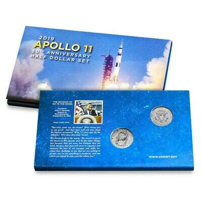 2019 Apollo 11 50th Anniversary Set 2 Coin PR With Enhanced Reverse Kennedy OGP