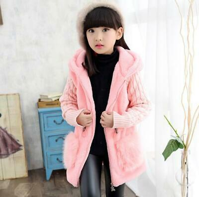 New Girls Hooded Fur Jackets Kids ChildWarm Winter Plush Woolen Coats Outerwear